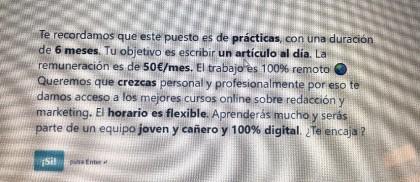 Cincuenta euros al mes por un contrato de prácticas: «Queremos que crezcas personal y profesionalmente»