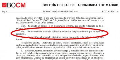 La Comunidad de Madrid recomienda a toda la población evitar los desplazamientos que no sean necesarios a partir del 28