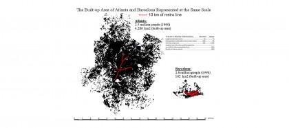 Mapas de Barcelona y Atlanta muestran el desperdicio de la dispersión