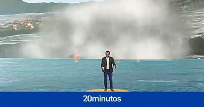 La televisión canaria arrasa con la realidad aumentada que usa para explicar el volcán de La Palma